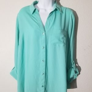 Woman Turquoise Blouse